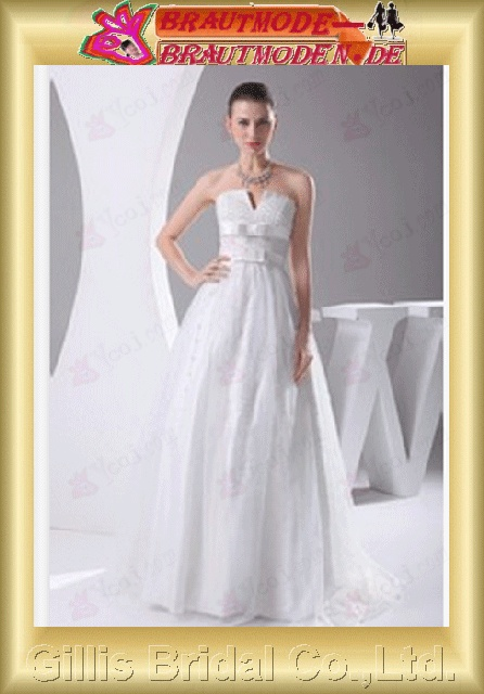 Charmeuse Taffeta Bowknot Bows beads Embroidery beaded Beading embroidery Zip strapless Sweep Brush A-line backless Open back Simple Exquisite Fashion elegant modest A-line bridal gowns A-line wedding dresses Strapless Wedding Dresses 800518