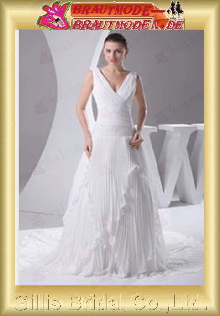 Taffeta pleated ruffle Fold Vertically Draped beads Embroidery beaded Beading embroidery Off-the-shoulder Monarch Royal A-line backless Open back Simple Exquisite Fashion elegant modest elegant A-line bridal gowns A-line wedding dresses White 800521