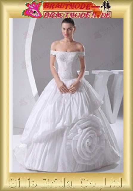Taffeta Fold Bubble beads Embroidery beaded Beading embroidery bandage Bateall Monarch Royal A-line Simple Exquisite Fashion elegant modest elegant A-line bridal gowns A-line wedding dresses White 800523
