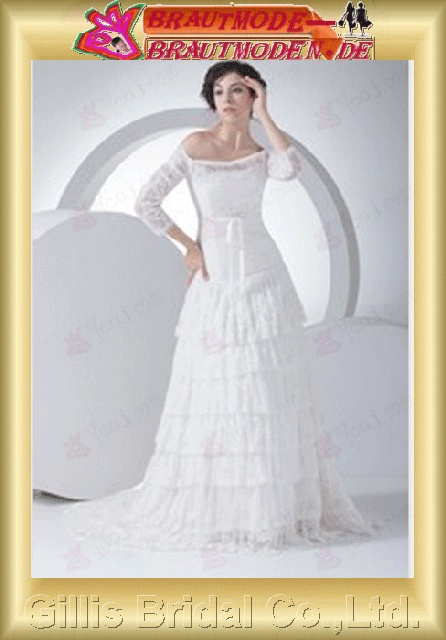 Taffeta lace Layered Zip Bateall Seventh Sleeve Off-the-shoulder Monarch Royal A-line Exquisite Fashion elegant modest elegant White 800530 Gillis bridal Wholesale - Wedding Dress Sold by Gillis Bridal Co., Ltd. Gillis800530