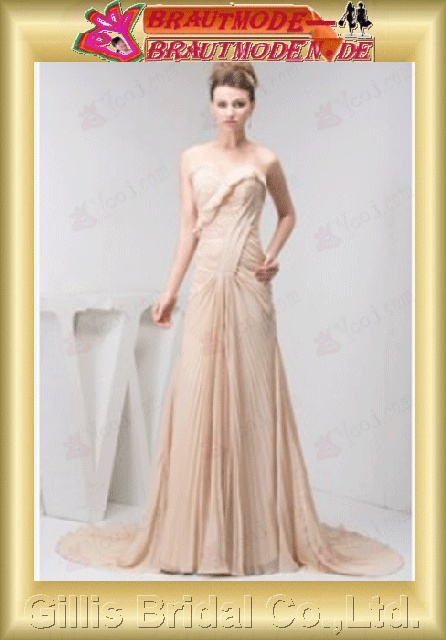 Chiffon pleated ruffle Fold Flouncing floating tablets strapless Monarch Royal A-line backless Open back Simple Exquisite Fashion modest elegant dresses backless wedding dress prom dresses evening dresses Gorgeous floor-length gown prom 800671