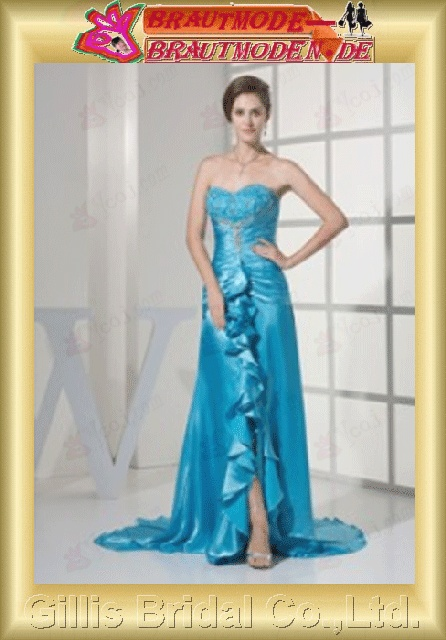Stretch satin pleated ruffle Fold Flouncing floating tablets beads Embroidery beaded Beading embroidery strapless Simple Exquisite elegant prom dresses Gorgeous floor-length gown Light Sky Blue 800994